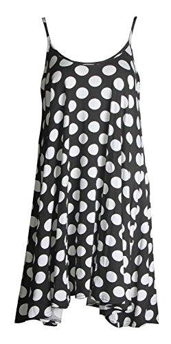 Forever Women's Scoop-Neck Polka-Dot Sleeveless High-Low Straight Dress, Polka Dot Black, 18/20 Plus
