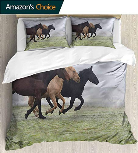 VROSELV-HOME Print Comforter Quilt Set,Box Stitched,Soft,Breathable,Hypoallergenic,Fade Resistant Bedding Sets-Horses Racing Farmland Animals Fall (90