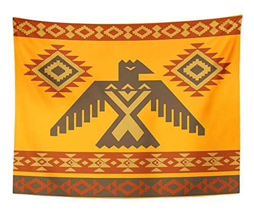 Emvency Tapestry Artwork Wall Hanging Thunderbird Tribal Native American Style Eagle Ornamental Navajo Totem Abstract 60x80 Inches Tapestries Mattress Tablecloth Curtain Home Decor Print