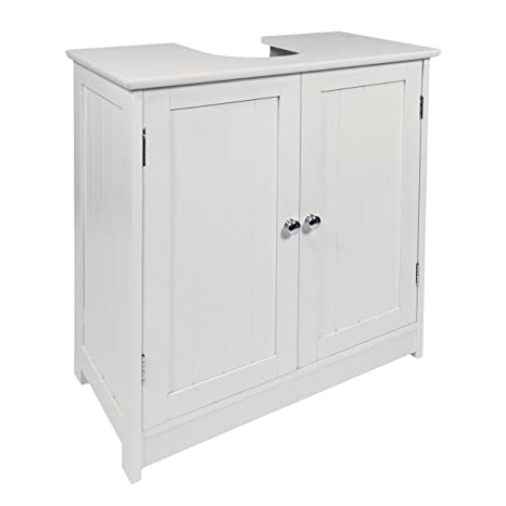 Woodluv – Armario bajo Lavabo, para Cuarto de baño, con Almacenamiento, Color Blanco