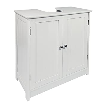 Woodluv Sink Bathroom Storage Cabinet White Wood Amazoncouk