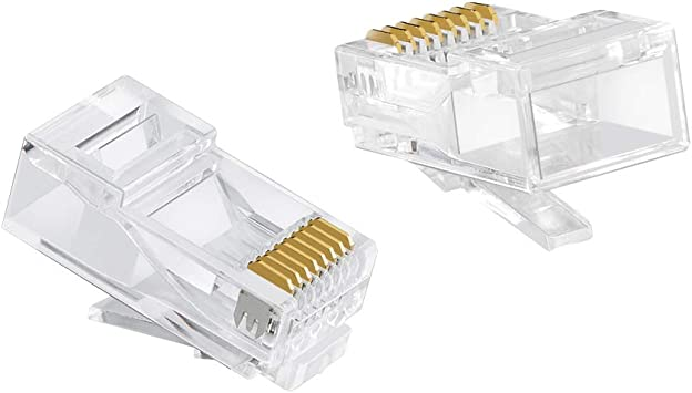 rj45 connectors Cat5//Cat5e//Cat6 UTP Anti-Interference Stranded Cable Solid Crystal Head 40-Pack