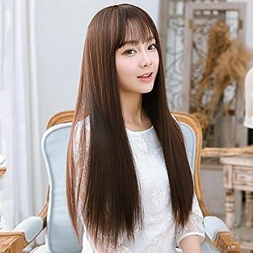 Amazon.com Air bangs and long straight hair wig women girls