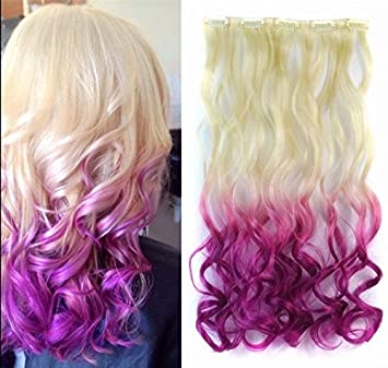 Amazon Com 20 Curly White Blonde To Purple Two Colors Ombre Hair
