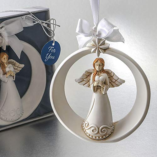 Guardian Angel Ornament with Ornate Star and Holding A Heart, 1 PC