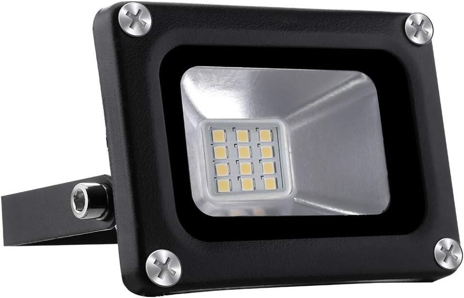 12V Focos LED Exterior Proyector 10W 800lm Floodlight Impermeable IP65 3000K Blanco Cálido Reflector Foco para Jardín, Garaje, Campo Deportivo [Clase de eficiencia energética A+]