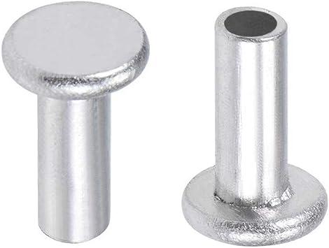 uxcell 200 Pcs M4 x 10mm Aluminum Flat Head Semi-Tubular Rivets Silver Tone