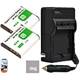 Pack of 2 NP-FG1 Batteries And Battery Charger for Sony Cyber-shot DSC-H70 DSC-H90 DSC-HX7V DSC-HX9V DSC-HX10V DSC-HX20V DSC-HX30V Digital Camera + More!!