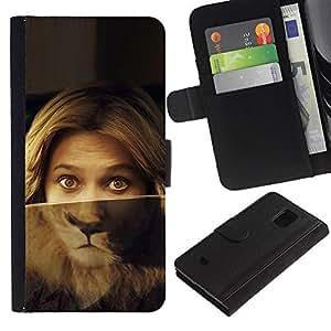 iKiki Tech / Cartera Funda Carcasa - Portrait Woman Lion Eyes Green Blonde - Samsung Galaxy S5 Mini, SM-G800, NOT S5 REGULAR!