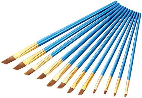 GALORO 12ピース/セットスタイリッシュアート水彩画ブラシ大人のためのブラシキッズオイルアクリルフラットチップペイントペン