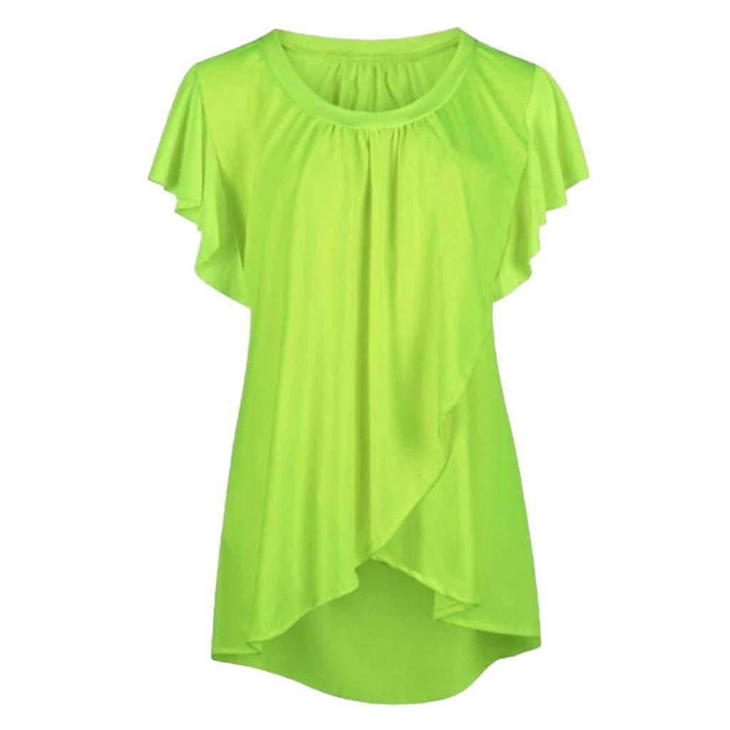 Women's Casual Tops Summer Fashion Ruffle Shirt Vest Dew Shoulder Chiffon Blous Plus Size Loose Round Neck Shirts (Green, XXXL)