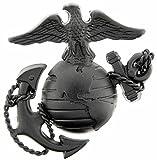 US Marine Corps Emblem E3 Left Cap Subdued Black USMC Lapel Hat Pin