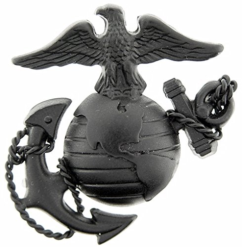 US Marine Corps Emblem E3 Left Cap Subdued Black USMC Lapel Hat Pin (Subdued Marine)