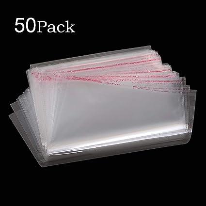 MZMing [50 Piezas] A4 Bolsa de celofán de polietileno transparente Bolsa Sellada Autoadhesiva Bolsa de plástico OPP engrosamiento para empacar pan ...