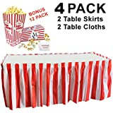 Red & White Striped Table Skirt, 2 Table Skirts, 2 Table Cloths, Bonus 12 Popcorn Boxes, Carnival Circus Decorations, Christmas, Fits Rectangle or Round Party Theme Tables (17 feet x 29 Inches)