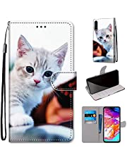 Miagon Full Body Case for Samsung Galaxy A50,Colorful Pattern Design PU Leather Flip Wallet Case Cover with Magnetic Closure Stand Card Slot,Cute Cat