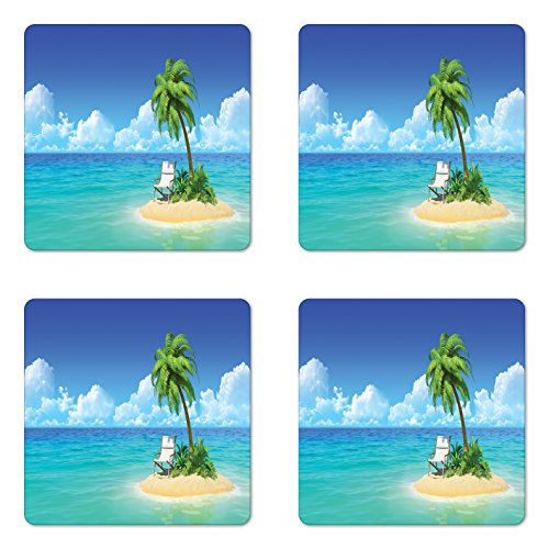 Lunarable Coastal Coaster Set of 4, Desert Chaise Lounge Solitude Resting Holiday Tropic Resort Beach Leisure, Square Hardboard Gloss Coasters for Drinks, Aqua Green - Chaise Gloss