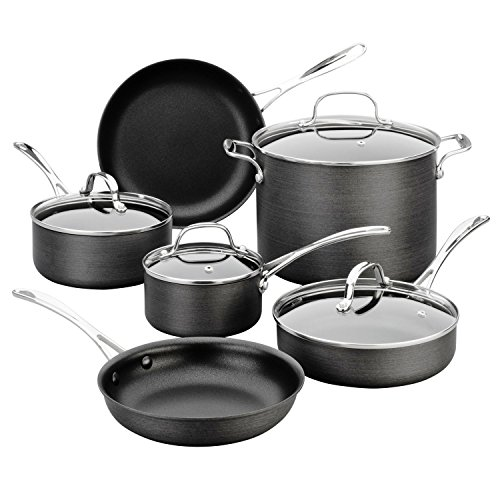 Revere Hard Anodized 10pc Non-Stick Pot and Pans Cookware Set w/ Glass Lids (Revere Frying Pan With Lid)