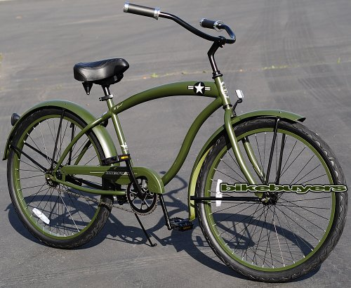 Micargi The General for men (Matte Army Green), 26″ Wheel 1-speed Pedal Brake Beach Cruiser Bike Schwinn Nirve Firmstrong Style Special Offers