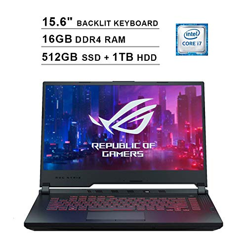 2020 Asus ROG G531GT 15.6 Inch FHD Gaming Laptop (9th Gen Intel 6-Core i7-9750H up to 4.50 GHz, 16GB DDR4 RAM, 512GB SSD + 1TB HDD, GeForce GTX 1650, RGB Backlit Keyboard, Windows 10) (Black)