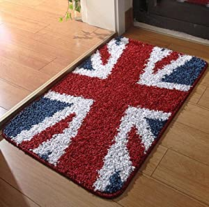 Sytian Pretty Union Jack Rug Soft Absorbent Doormat Floormat Shaggy Area Rug  Non Slip Bath Mat Bathroom Shower Rugs Carpet (British Style,40x60cm)