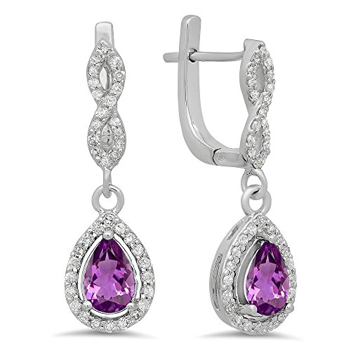 14K White Gold Pear Amethyst & Round White Diamond Ladies Halo Style Dangling Drop Earrings by DazzlingRock Collection