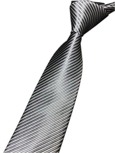 Narrow Slim Necktie (Men Teens Dark Grey White Slim Tie Supper Narrow Striped Office Matching Necktie)