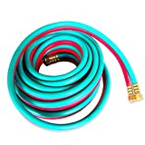 Domeiki 1/4'' inch x 25' ft. Welding Hose Twin Color Coated Acetylene Oxygen Brass Shop