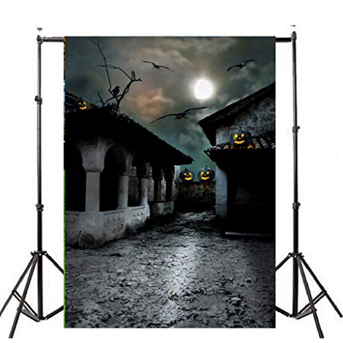 Sacow Halloween Backdrops, Halloween Moon Pumpkins Castle Lamps Party Decorations Photography Backdrop Seamless No Creases Folding Photo Booth Background (E) -
