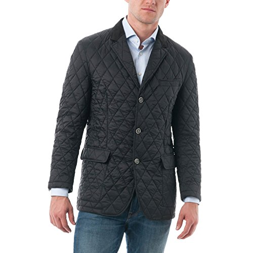Chama Men's Quilted Notched Lapel Blazer Jacket (2XL, (Shirt Jacket Blazer)