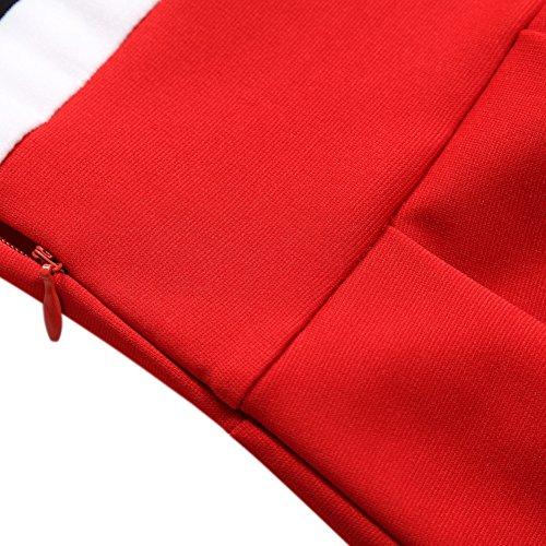 Casuale Rosso Scollo s Vestito Del Della Banda Del Manica Vestito Oscillazione Blu Hiqueen 4 Donne Marino Delle Stile 3 Di 0HqwA
