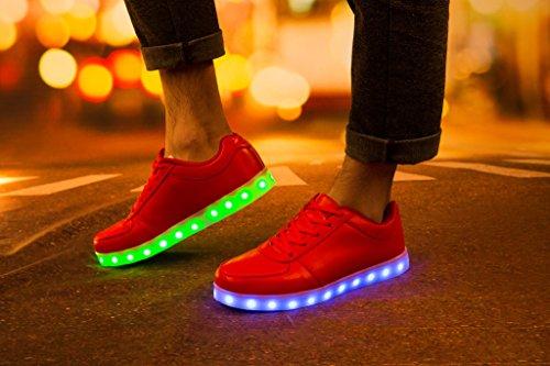 Luz Magos Para 1 Hombres Reyes Luminosas Mujeres Flash USB Red Deporte Zapatos Unisex Blanco Los SAGUARO Carga Zapatillas Colors de 8 LED Para BYngO6R