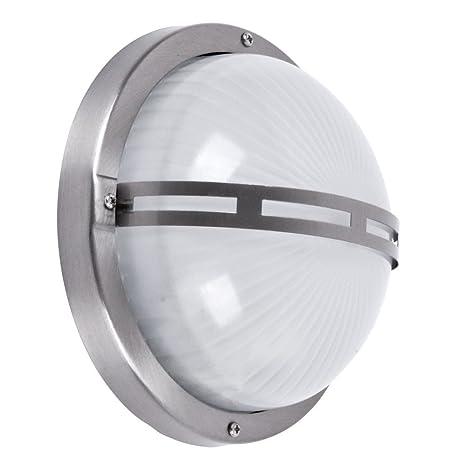 Brilliant 96109/82 Philipp - Lámpara de pared o techo para exterior (para 1 bombilla E27 de máximo 53 W, metal/cristal), color gris acero