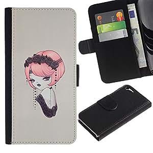 Protector de cuero de la PU de la cubierta del estilo de la carpeta del tirón BY RAYDREAMMM - Apple Iphone 5 / 5S - Pin del vintage encima