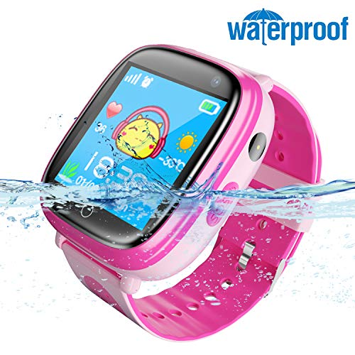 Smart Watch for Kids Waterproof Smartwatch with GPS Tracker Function -IP67 Waterproof- SOS Alarm Clock Flashlight Camera with Phone Christmas Birthday Gift for Children