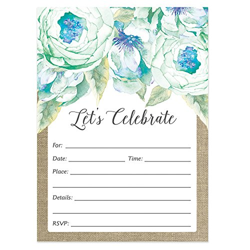 (Digibuddha Mint Blue Floral Invitations Engagement Bridal Shower Wedding (50 Count Value Pack) with Envelopes Lovely Country Rustic Design Blank Invites Bachelorette Retirement Grad Party)
