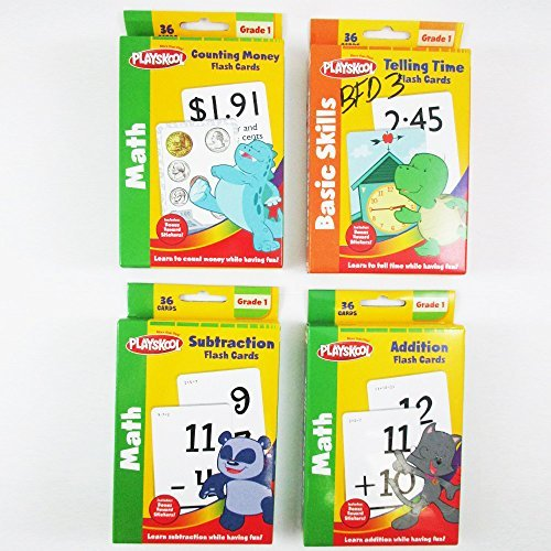 4 Pack Playskool Flash Cards Kids Learn Children School Math Basic Skills Grade1