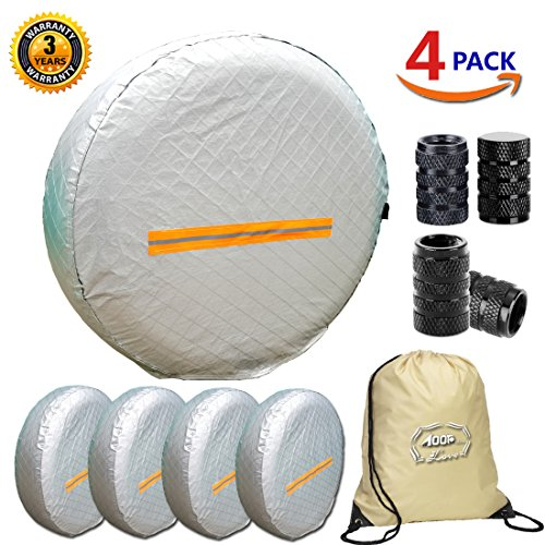 Tire Covers for RV Wheel 4 Pack, Waterproof UV Reflective Safety Tire Protectors, Fits 26