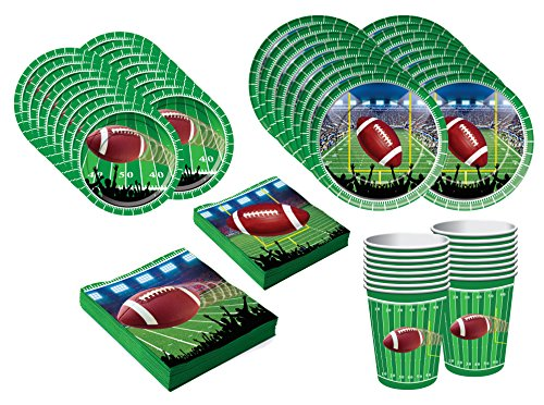 Party Props Online (Football Themed Party Supplies and Accessories Pack - Serves 16 People- Large Plates, Small Plates, Cups, & Napkins)