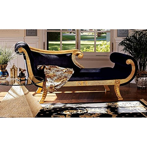 Design Toscano Cleopatra Neoclassical Chaise, Black and Gold ()