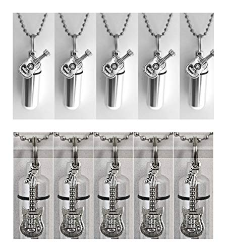 Special Set of TEN Silver CREMATION URN Necklaces - (5) ELECTRIC & (5) ACOUSTIC GUITARS- Includes Velvet Pouches, Ball-Chains, Fill Kit - Made In The USA ()