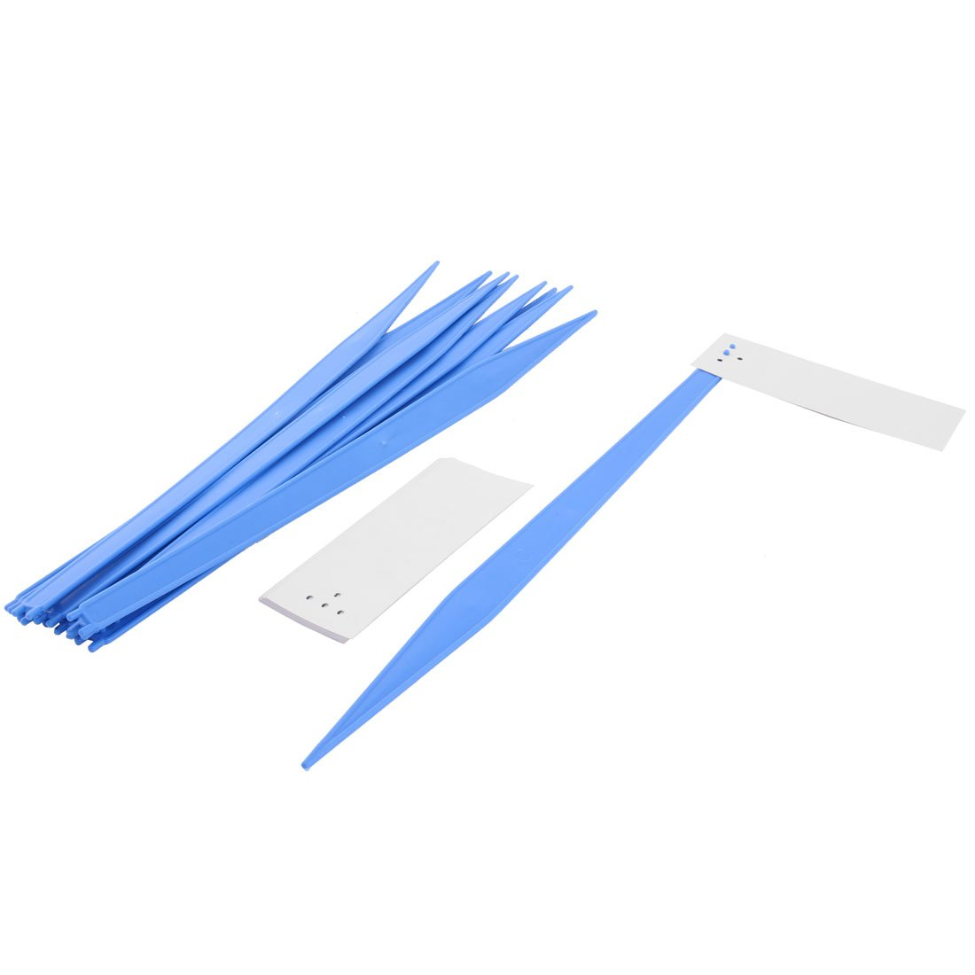 uxcell Plastic Home Garden Plant Seed Name Marking Label Marker 44cm Length 10 Pcs White Blue