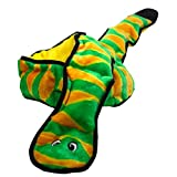 Outward Hound Kyjen 32005 Invincibles Plush Snake Stuffingless Durable Dog Toys Squeaker Toy 12-Squeakers, Large, Green