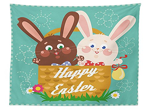vipsung Easter Tablecloth Funny Rabbits inside a Cup with Balloons Happy Best Gifts Baby Shower Themed Art Graphic Dining Room Kitchen Rectangular Table Cover (Candyland Themed Balloons)