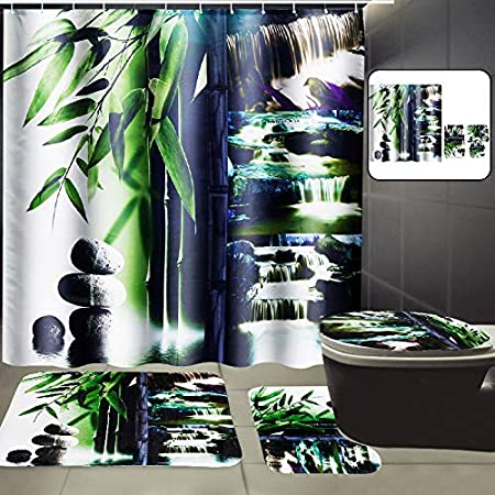 180x180cm Bathroom Bamboo Waterfall Shower Curtain 12 Hooks Toliet Mat Rug