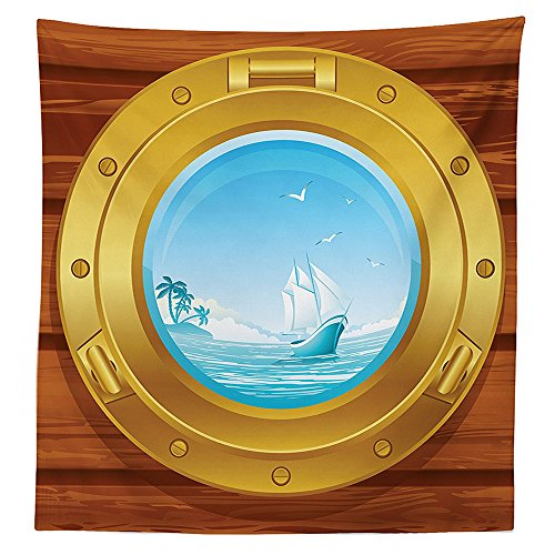 Metallic Palm Tree Table Decor (Nautical Decor Tablecloth Brass Porthole on a Wooden Penal Golden Metallic Palm Trees Island Birds Dining Room Kitchen Rectangular Table Cover)
