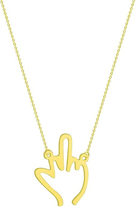 Fuck you Gold Middle Finger Jewelry Middle Finger Necklace Gold 24k Gold Plated Necklace for Women Fuckoff Necklace