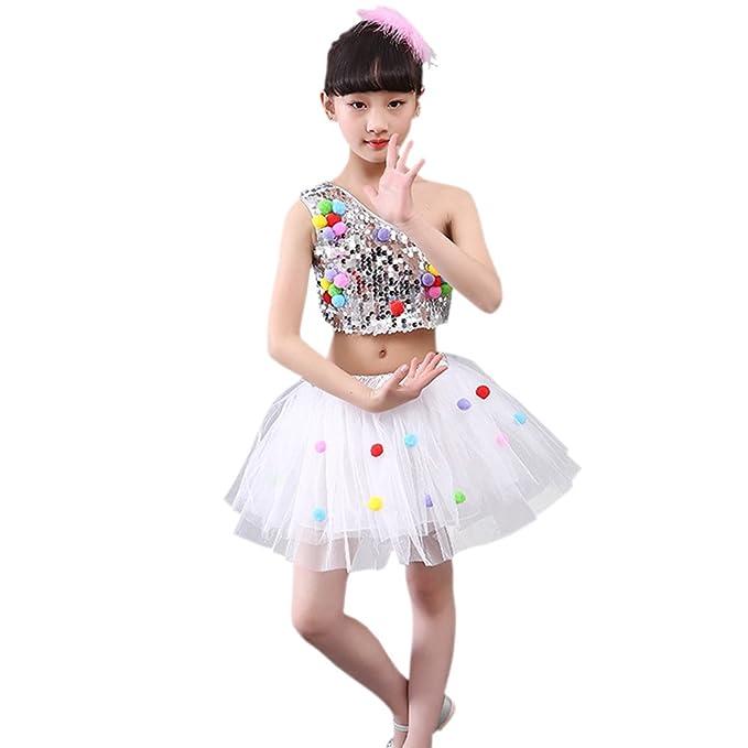 599b1782d BOZEVON Trajes de Baile para Niñas Falda mullida Ropa de Danza ...