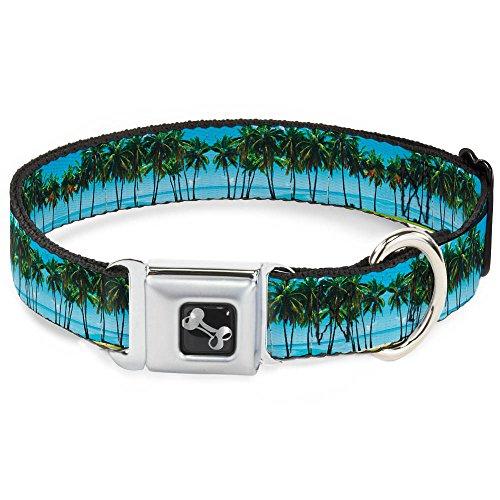 Buckle Down Seatbelt Buckle Dog Collar - Landscape Beach Palm Trees - 1.5