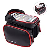 Bike Frame Bag, EKOOS Waterproof Bicycle Bike Handlebar Bag with TPU Sensitive Touch Screen Front Top Tube Frame Pouch Holder Bike Cell Phone Bag for iPhone 6s Plus/6 Plus/7 Plus (up to 6.2 inch)